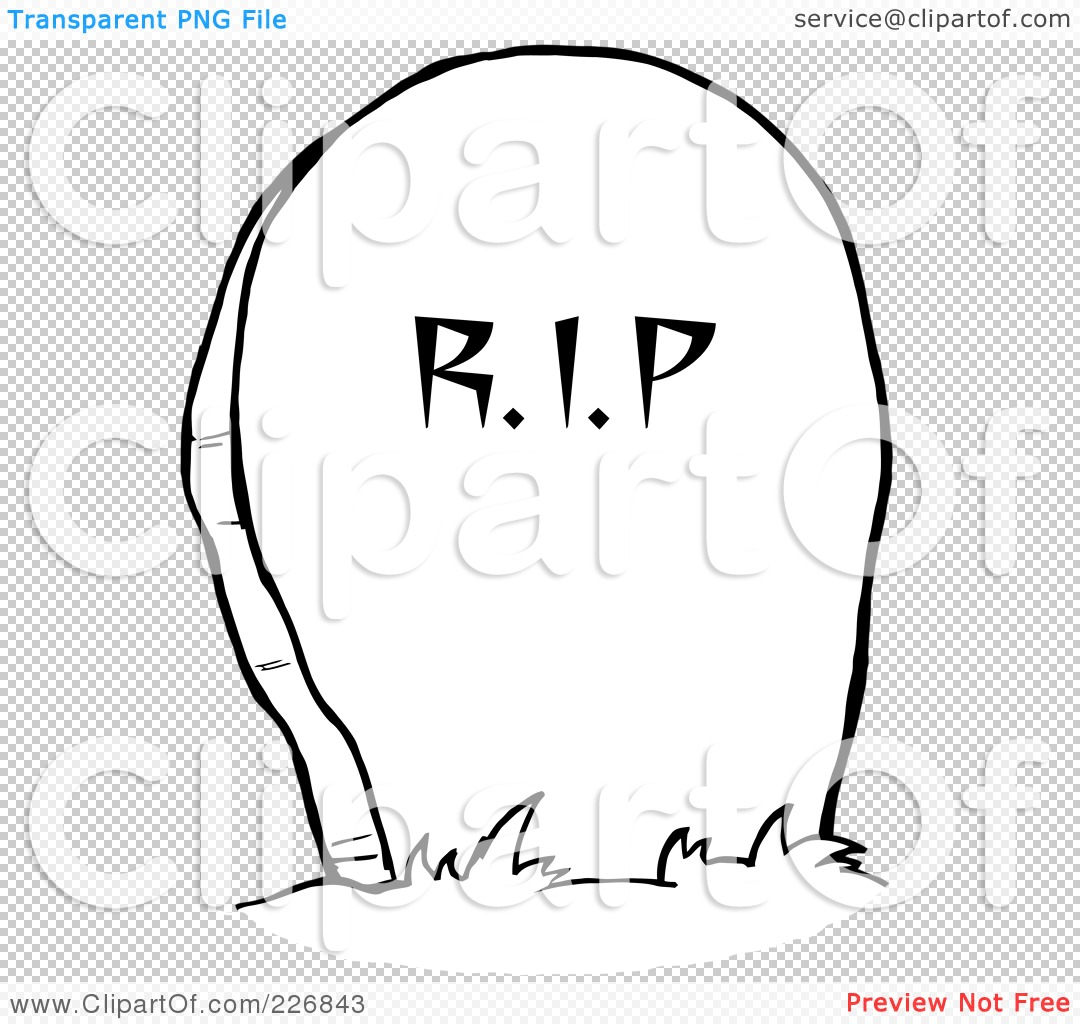 Royalty Free Rf Clipart Illustration Of A Coloring Page Outline Of A Stone Rip Tombstone In A