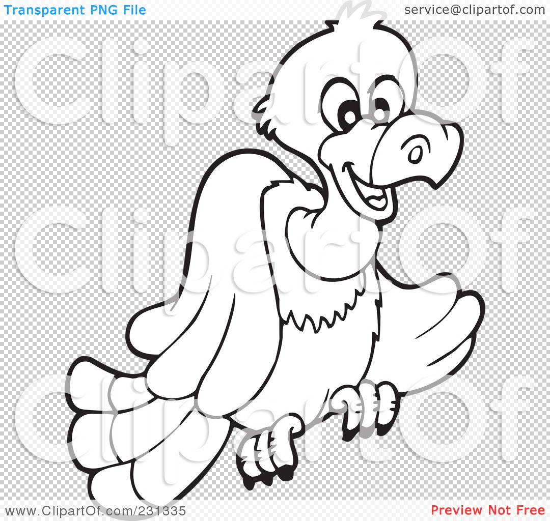 Royalty Free Rf Clipart Illustration Of A Coloring Page Outline Of A Vulture By Visekart