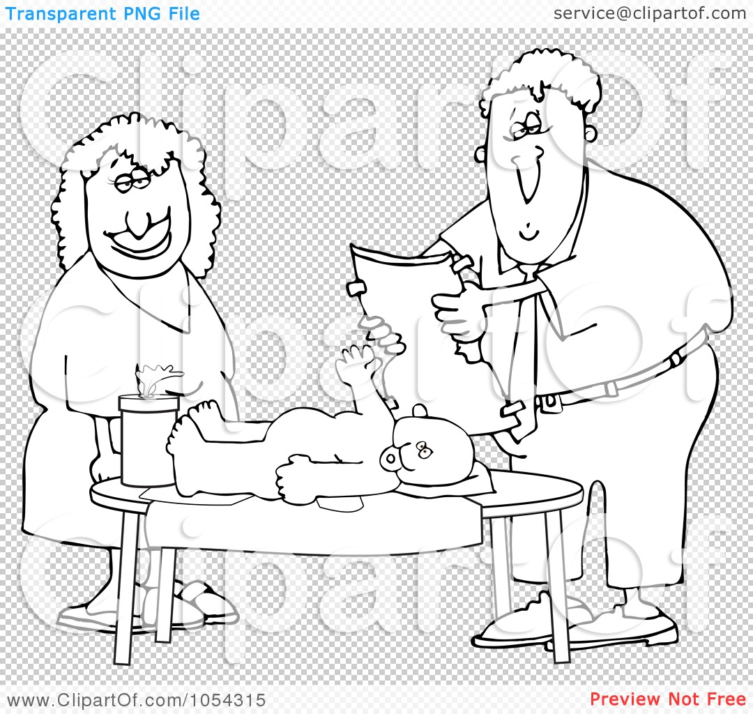 Royalty Free Vector Clip Art Illustration Of A Black And White Father Changing A Baby Diaper