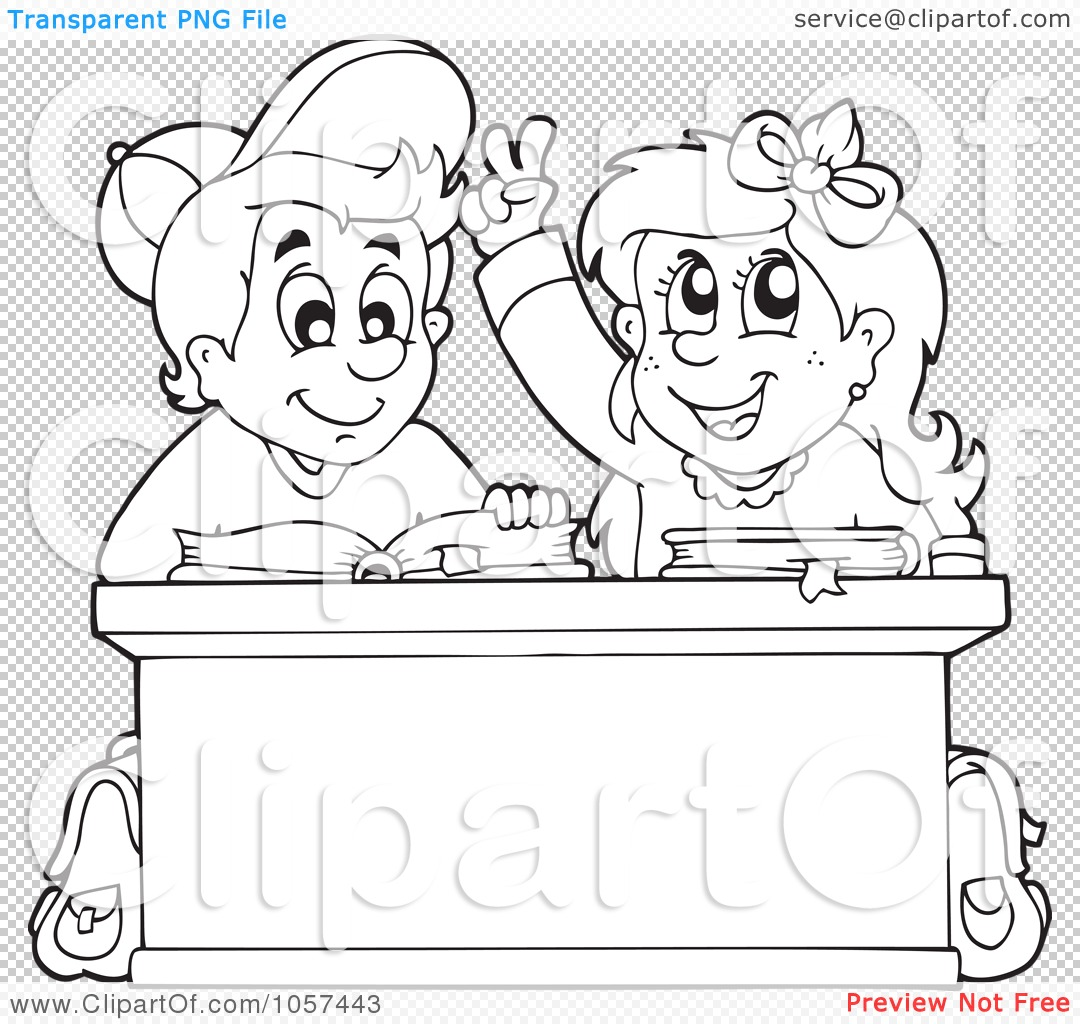 Royalty Free Vector Clip Art Illustration Of A Coloring Page Outline Of A School Boy And Girl