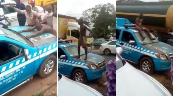 The Benin Tricycle rider destroying the Federal Road Safety Corps Vehicle.