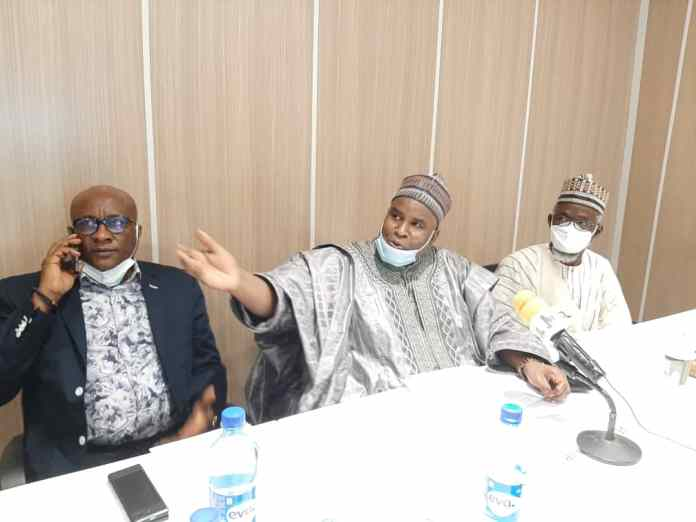 The founder of Azman Airline, Alhaji (Dr.) Abdulmunaf Yunusa and the Chairman/CEO of Air Peace, Allen Onyema at the Annual General Meeting of the association.
