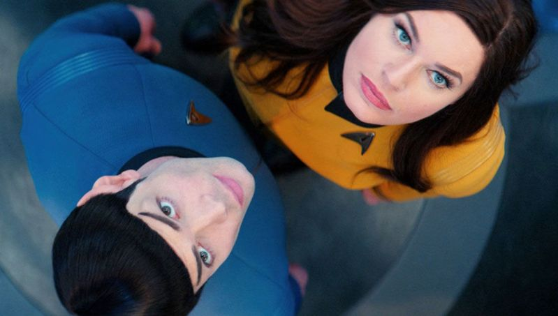 Spock and Una looking up