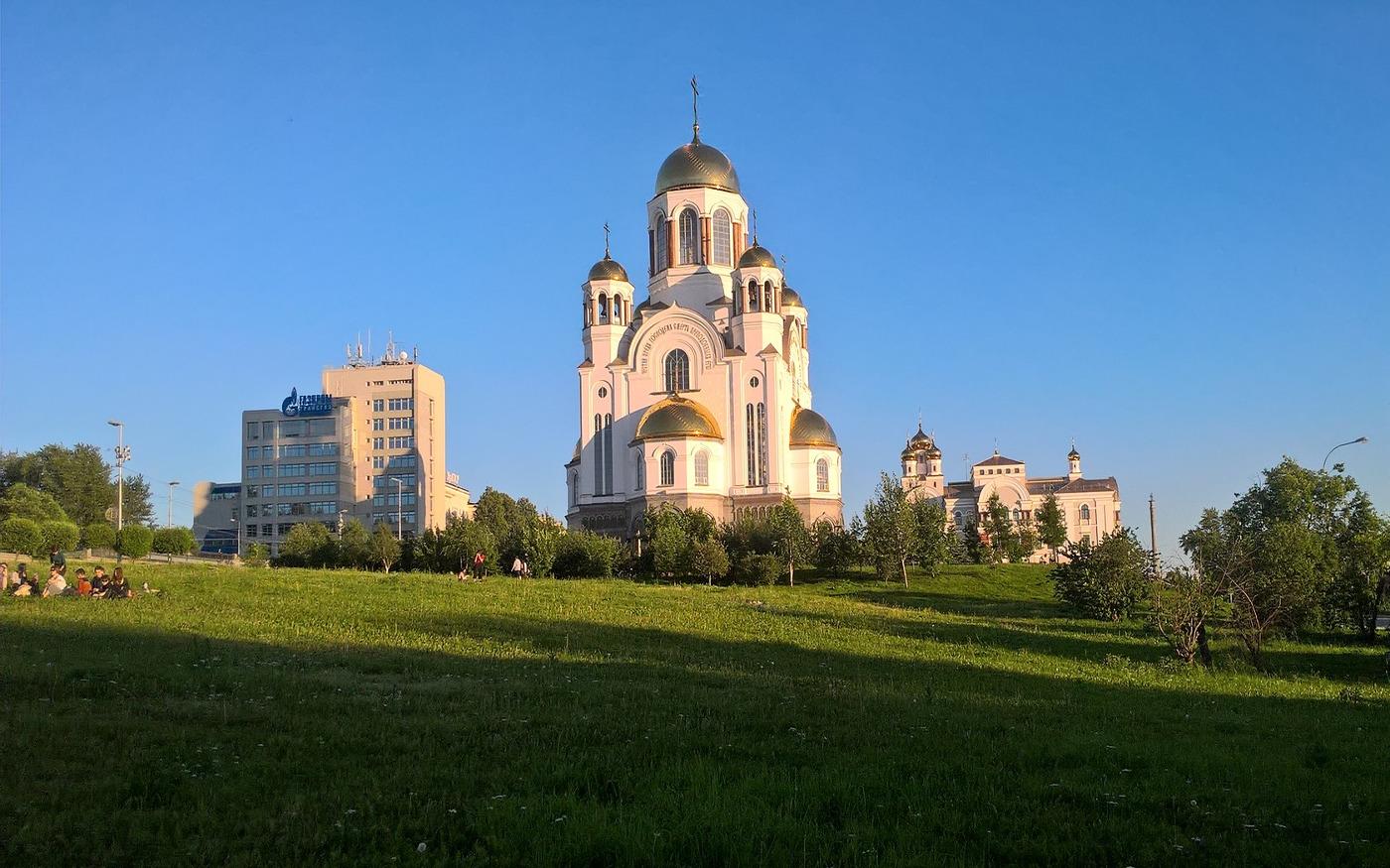 Die berühmte Kathedrale auf dem Blut in Jekaterinburg