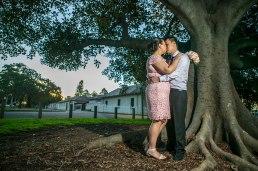 Sydney wedding couple kissing under a tree