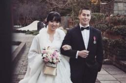 Sydney wedding couple smiling at auburn botanic gardens