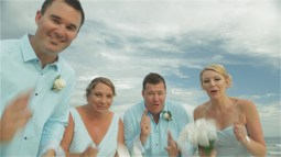 Australian wedding bridal party laughing and smiling