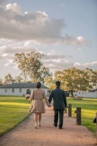 Sydney wedding couple are strolling through parramatta