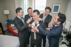 Australian sydney groomsmen laugh at groom