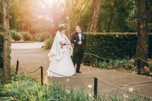 Beautiful australian and asian wedding couple walk at auburn botanic gardens