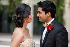Indian wedding couple look at each other at curzon hall gardens