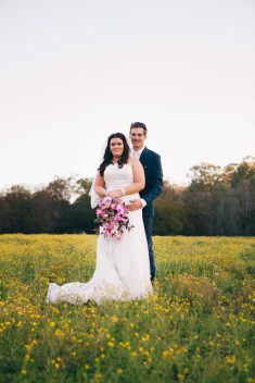 bride and groom countryside portrait