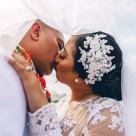 beautiful tongan wedding kissing photoshoot