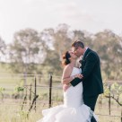 beautiful bride and groom in hunter valley vineyard portrait
