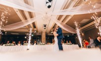 beautiful bride and groom wedding fireworks dry ice first dance darling harbour sydney