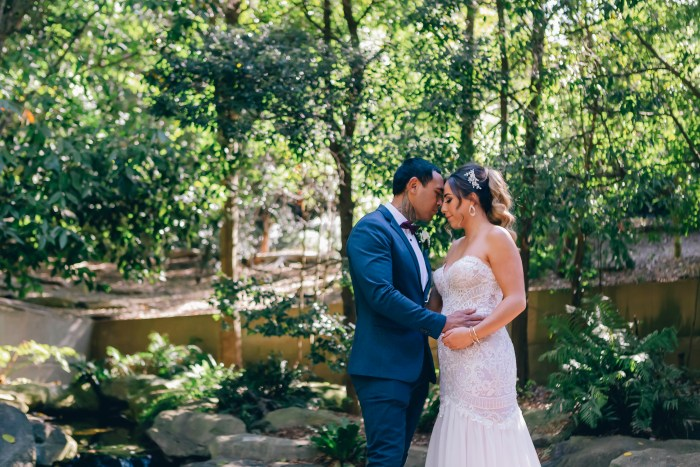 beautiful bride and groom at mount annan botanic gardens