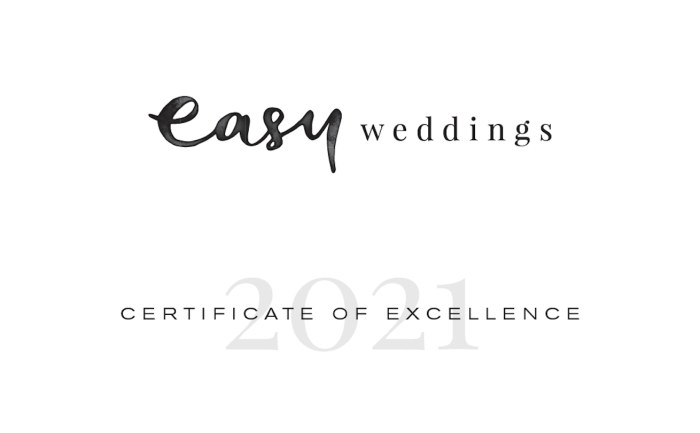 Easyweddings Certificate of Excellence 2021 TranStudios Photography & Video Square
