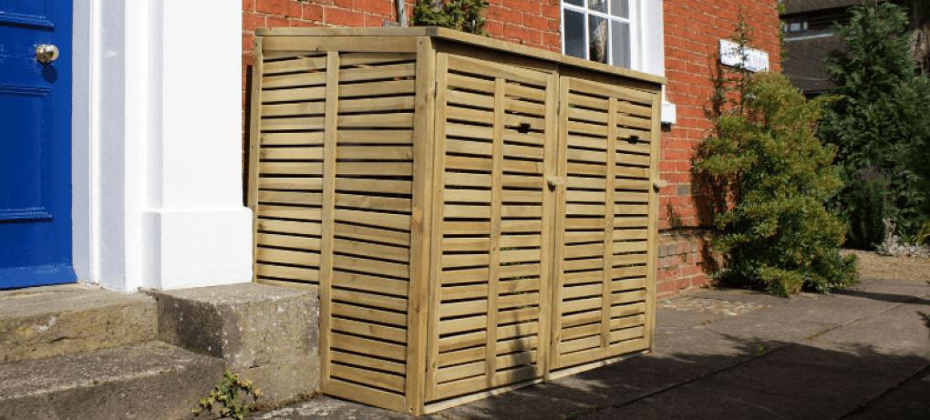 Wooden Garbage Can Storage Cabinet