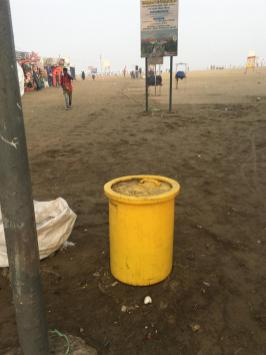 Yellow Beach Trash cans