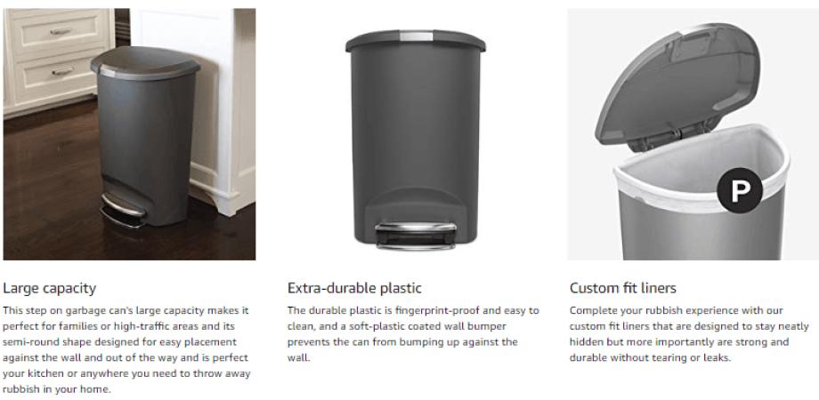 Semi-Round Kitchen Step Trash Can