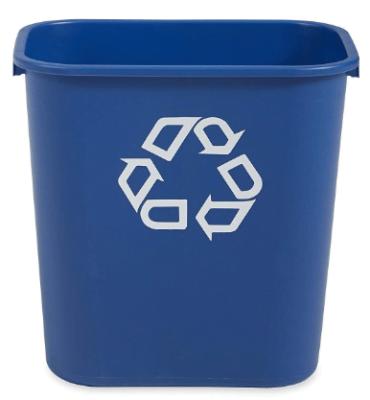 blue waste bin
