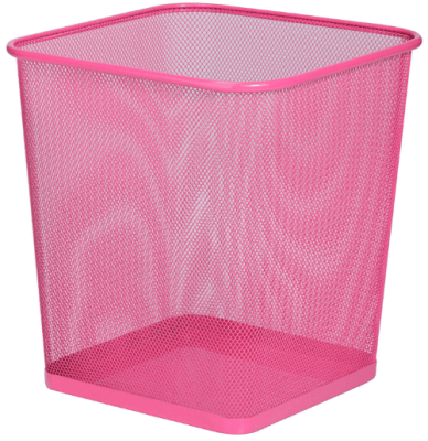 pink mesh trash can