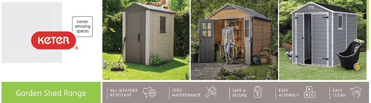 keter manor plastic garden shed - 6 x 4ft