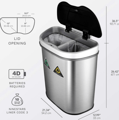 nine stars trash can/recycler