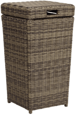 resin wicker outdoor trash can