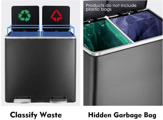 HEMBOR Dual Trash Can
