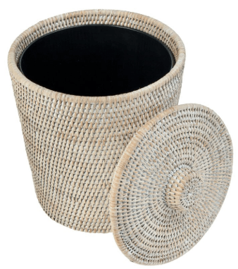 outdoor wicker trash can