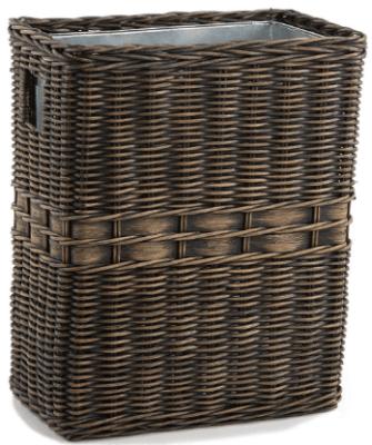 wicker wastebasket with liner