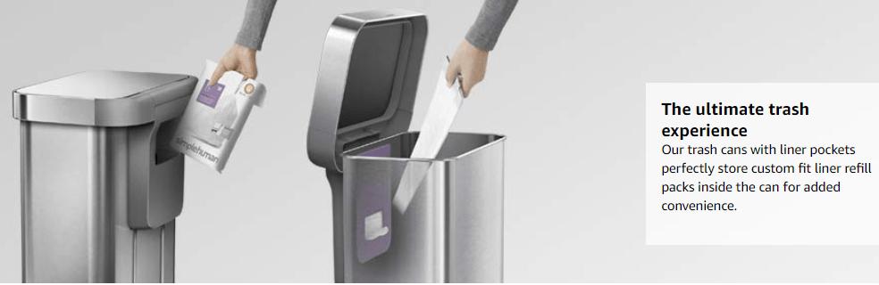 simplehuman Code K Custom Fit Liners Tall Kitchen Drawstring Trash Bags,35-45