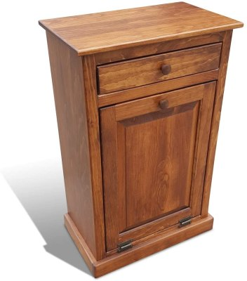 wooden kitchen trash can with lid