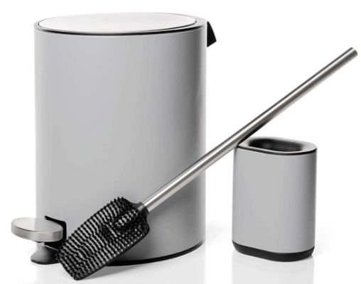 bathroom trash can and toilet brush