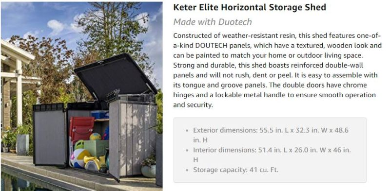 keter elite store 4.6 x 2.7 resin outdoor storage shed