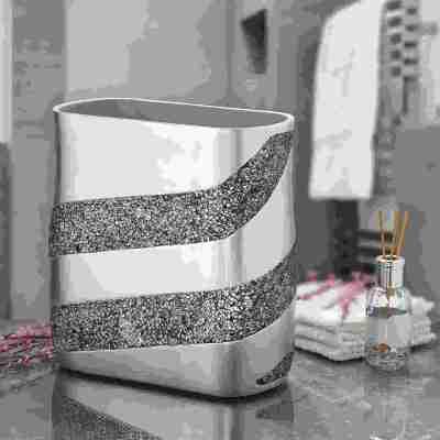DWELLZA Silver Mosaic Bathroom Waste Aesthetic trash Can