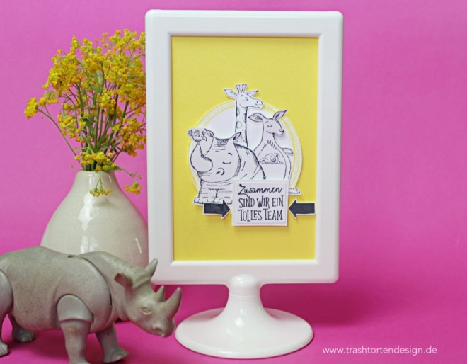 stampinup_wild auf grüße_nashorn_giraffe Bilderrahmen_ikea_Ananas_gelb_Incolor