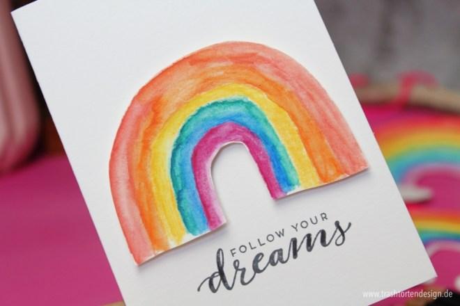 stampinup, Regenbogen, Traumfänger, dreams, aquarellpainter; aquarellstifte, Kindergeburtstag