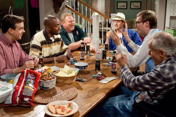 Jason Sudeikis, J.B. Smoove, Larry Joe Campbell, Owen Wilson and Stephen Merchant appear in Hall Pass