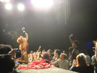 Yara Sofia performs in Denver while Nina Flowers looks on at the first show in the RuPaul's Drag Race tour