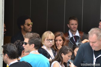 Lenny Kravitz and Chris Hardwick share and elevator ride at Comic Con 2013
