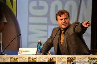 Jack Black points out Tenacious D band member Kyle Gass during the Goosebumps panel at Comic Con 2014