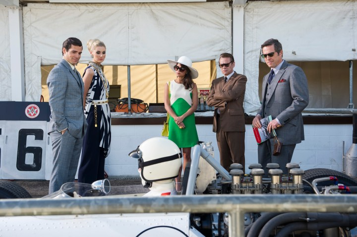 "HENRY CAVILL as Solo, ELIZABETH DEBICKI as Victoria, ALICIA VIKANDER as Gaby, SYLVESTER GROTH as Uncle Rudi and HUGH GRANT as Waverly in Warner Bros. Pictures' action adventure ""THE MAN FROM U.N.C.L.E."