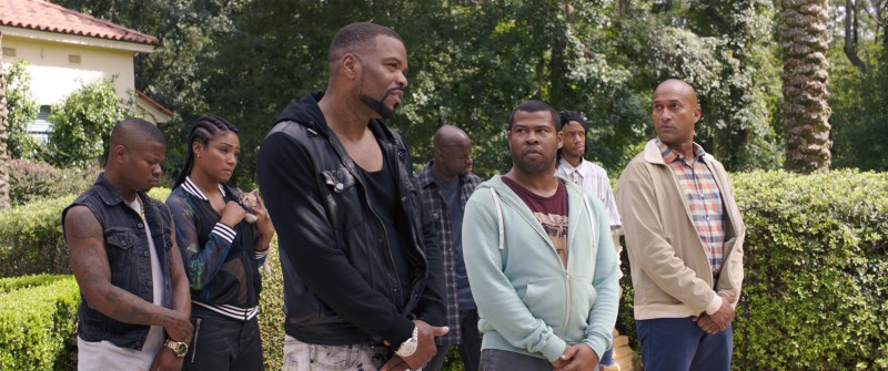 "JASON MITCHELL as Bud, TIFFANY HADDISH as Hi-C, METHOD MAN as Cheddar, JAMAR MALACHI NEIGHBORS as Stitches, JORDAN PEELE as Rell, DARRELL BRITT-GIBSON as Trunk and KEEGAN-MICHAEL KEY as Clarence in New Line Cinema's action comedy ""KEANU,"" a Warner Bros. Pictures release."