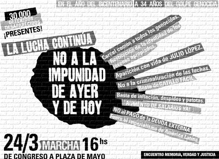 Afiche de la convocatoria a la marcha del 24 de marzo