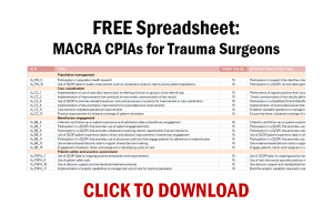 Download our free spreadsheet: MACRA CPIAs for Trauma Surgeons