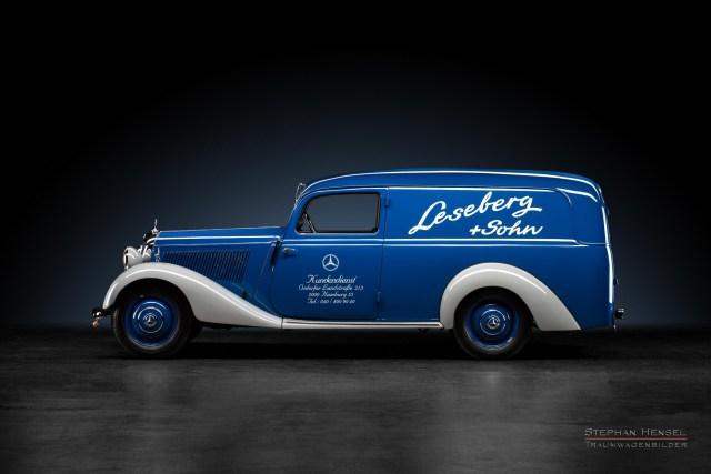 Mercedes-Benz 170 V, Baujahr 1949, Seitenansicht von links, Oldtimer, Leseberg + Sohn, Autofotografie: Stephan Hensel, Hamburg, Oldtimerfotograf, Autofotograf, Automobilfotograf, Oldtimerfotografie