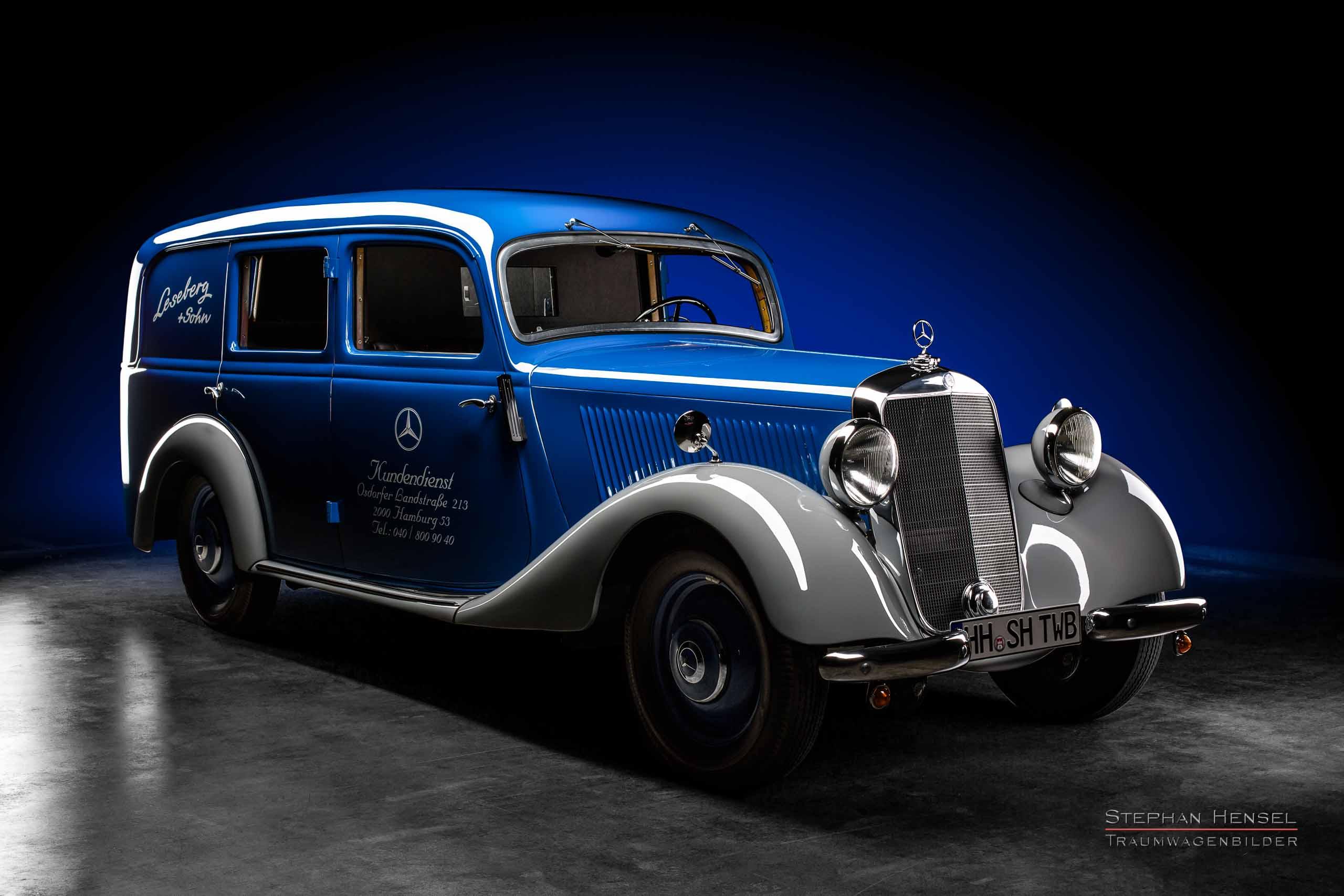 Mercedes-Benz 170 V, Ansicht von rechts vorn, Autofotografie: Stephan Hensel, Hamburg, Oldtimerfotograf, Autofotograf, Automobilfotograf, Oldtimerfotografie