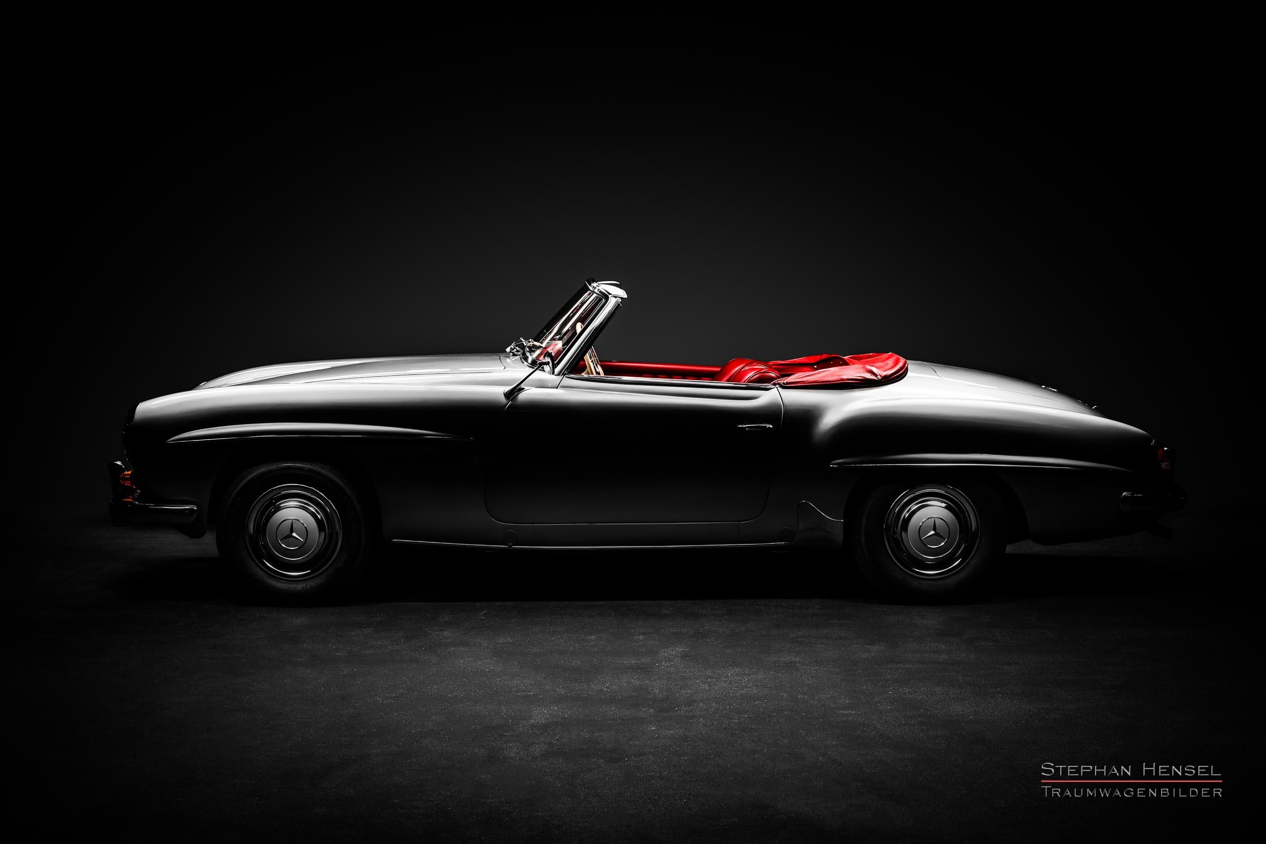 Mercedes-Benz 190 SL, Studioaufnahme, Seitenansicht von links, Autofotografie: Stephan Hensel, Hamburg, Oldtimerfotograf, Oldtimerfotografie